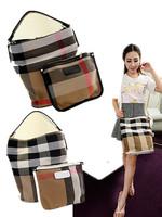 2014 classic style canvas women handbag  genuine bucket plaid bag leather+ canvas mochila canvas fashion hobo women bags plaid