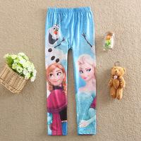 Free shipping , 2014 frozen dress children long pants girls leggings 4-10year kids frozen pants Milk Silk elsa dress girls pants