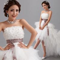 Diamond lace tube top low-high train bride wedding dress new arrival 2014 A2779# plus size wedding dress