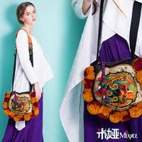 MIYA New arrival national trend hair ball embroidered embroidery bag casual messenger bag national bag canvas bag