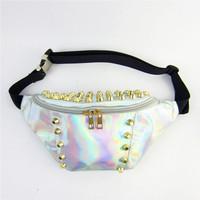 HARAJUKU Rivet women's messenger Bag,sports fashion waist packs,silver starry chest bags for men&women,running bags