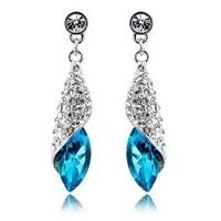 Free shipping Austria crystal earrings female fashion long design drop Dangle Earrings noble elegant bridal accessories