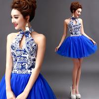 2014 BEST THE ANGEL formal dress Blue and white porcelain sexy halter-neck short design blue evening dress  A6806#