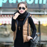 Autumn and winter women's vest outerwear fashionable casual with a hood down cotton vest cotton vest
