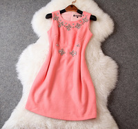 New arrival 2014 women's  woollen vest basic with diamond and beading dressone-piece dress