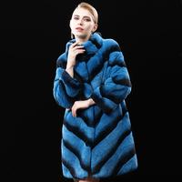 New Arrival FUR 2014 winter Long Design Women's Rex Rabbit Hair Fur Coat  fashion Stripe paragraph