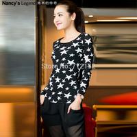 Plus size star long sleeve basic shirt plus size autumn comfortable high-elastic basic shirt free shipping L~6XL new arrival