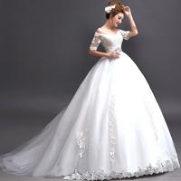2014 BEST THE ANGEL WEDDING DRESS Sexy V-neck princess bride wedding dress large train half-sleeve wedding dress A5917#