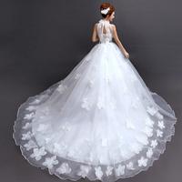 2014 BEST THE ANGEL WEDDING DRESS Diamond flower sexy halter-neck straps train princess bride wedding dress winter A230#
