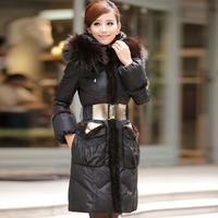 2013 winter female mink hair long design slim down coat female