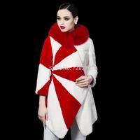 2014 NEW Fashion Fur Rex Rabbit Hair Medium-long Fur Coat irregular Sweep FREE SHIPPING