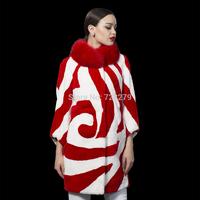 2014 New High Quality Rex Rabbit hair Fur medium-long Outerwear fashion Irregular  COAT