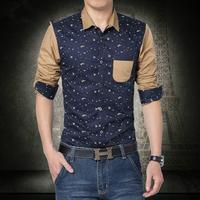 2014 Mens Slim Fit Casual Blouse Unique Neckline Stylish Long Sleeve Shirt Turn-down Collar Men's Shirts Free Shipping SizeM-5XL