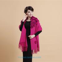 Wool scarf female cape dual-use fashion ultra long thickening rose cloak wedding plain