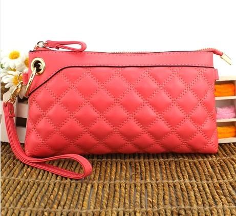 Classic big check new women's genuine leather day clutch bag women messenger bag women's handbag young lady hand bag casual bag(China (Mainland))