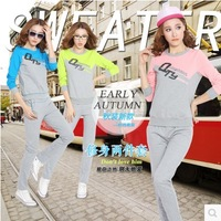 Sport set 2014 spring autumn fashion new women's plus size clothes casual suit pacthwork color letter print Free Shipping