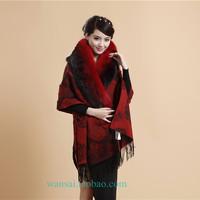 Female air conditioning fashion quinquagenarian fur wool cashmere scarf rose cape dual cloak
