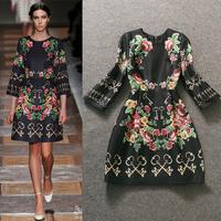 Free shipping! 2014 autumn women's fashion vintage keys print three quarter sleeve slim one-piece dress