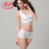 Langsha women's underwear set cotton sexy seamless wireless lace push up bra panties