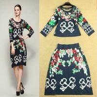 Fashion Autumn 2014 Key Crochet Women Pullover Sweater Half-length Skirt Set Sweatshirt Skirt