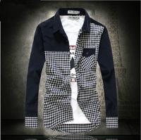 2014 men's autumn clothing male sanded plaid color block decoration long-sleeve slim fit shirt men's clothing