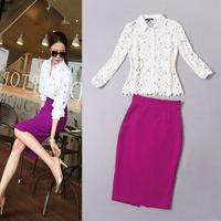 2014 autumn women's fashion cutout flower water soluble top purple bust skirt set