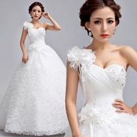 2014 BEST THE ANGEL WEDDING DRESS,new arrival White one shoulder flower diamond lace princess bride bandage wedding dress A2991#