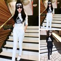 Letter print Women Tracksuit Sweatshirt Casual 2014 New Winter Hoody fleece Fashion Sports Suit Free Shipping black white