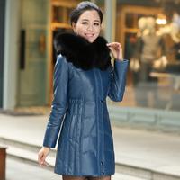 Luxury large fox fur genuine leather sheepskin down clothing female slim hooded coat medium-long
