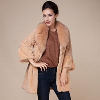 Full leather 2014 ultralarge rex rabbit hair fox fur coat medium-long women overcoat