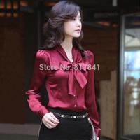 New Arrival blusas femininas 2014 autumn long-sleeve shirt female bow shirt female chiffon shirt plus size clothing women blouse