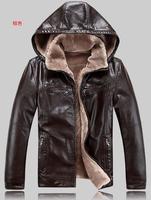 Men hooded fur one sheep leather jacket Fertilizer increased