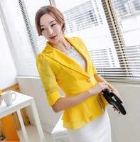 Free shipping women suit 2014 autumn long-sleeve female blazer outerwear slim female short blazer ruffle design candy color