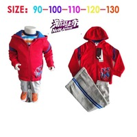 1-St Free shipping male child with a hooded casual sports set kids sport sets baby clothing sets kids suits 5sets/lott