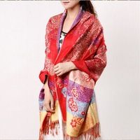 Scarf female autumn and winter thermal national trend jacquard air conditioner oversized scarf cape scarf
