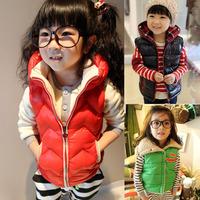 Free shipping 2014 winter new fashion children cotton waistcoat jacket baby kids down vest girl