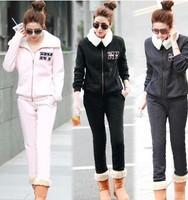 2014 Autumn Winter Women Casual Sport Suit Hoodie+Pants Thicken Berber Fleece Sportswear Lady's Hoodies Sweatshirt Set Plus Size