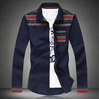 2014 Autumn national trend patchwork long-sleeve shirt male plus size m-5xl  vintage shirts slim fit men's clothing