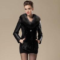 Ultralarge fox genuine leather clothing female short slim design sheepskin leather coat