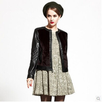 2014 o-neck patchwork chamois leather coat female all-match black short top