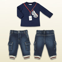 2014 new autumn baby boy girl sports suit long-sleeved T-shirt + jeans cotton European style 2 pcs set
