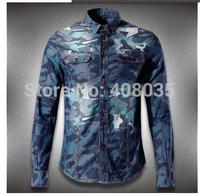 free shipping new fashion men shirts brand Top denim long-sleeve shirt high quality Camouflage shirt skinny jacket for men 331