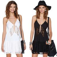 Sexy perspective  patchwork spaghetti strap chiffon lace dress fashion women dresses Plus size XS-XXL FC033