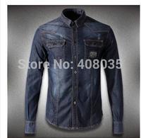 Free shipping new fashion spring and autumn shirt brand P denim long-sleeve shirt high quality SLIM designer cowboy shirt 326