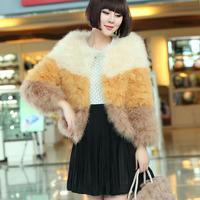 2014 Winter Women Fur Jacket Knitted Color Block Ostrich Fur Coat Thick Warm Fur Coat Women Overcoat 4782 p280