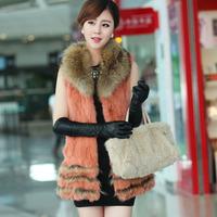 2014 Fashion Fur Vest Women Patchwork Rabbit Fur With Raccoon Fur Coat Vest 44812 p430