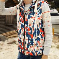 2014 autumn and winter down cotton vest Korean hooded Slim camouflage vest cotton vest