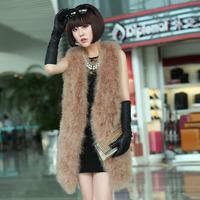 Winter Fashion Women Fur Vest Thick Warm Fur Coat Knitted Solid Color Ostrich Fur Wool Vest Coat 4781 p280