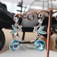 YBB Z118 Women'S Crystal Pendants Angel Wings Feather Earrings Violet Wishing Stud Earrings Girl Accessories
