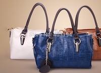 New 2014 Fashion Women Shoulder Bag Solid genuine leather Embossed elegant bag Brand design bag femme messenger bag blue WD8